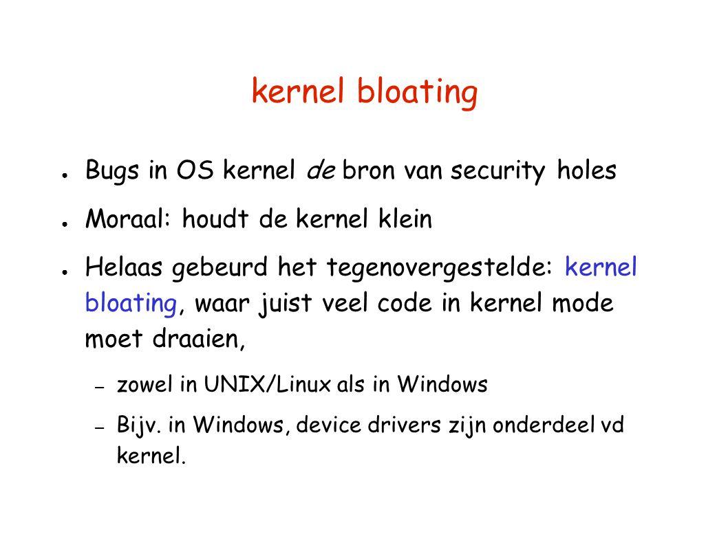 kernel bloating ● Bugs in OS kernel de bron van security holes ● Moraal: houdt de kernel klein ● Helaas gebeurd het tegenovergestelde: kernel bloating