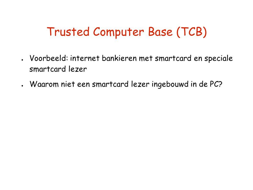 Trusted Computer Base (TCB) ● Voorbeeld: internet bankieren met smartcard en speciale smartcard lezer ● Waarom niet een smartcard lezer ingebouwd in de PC?