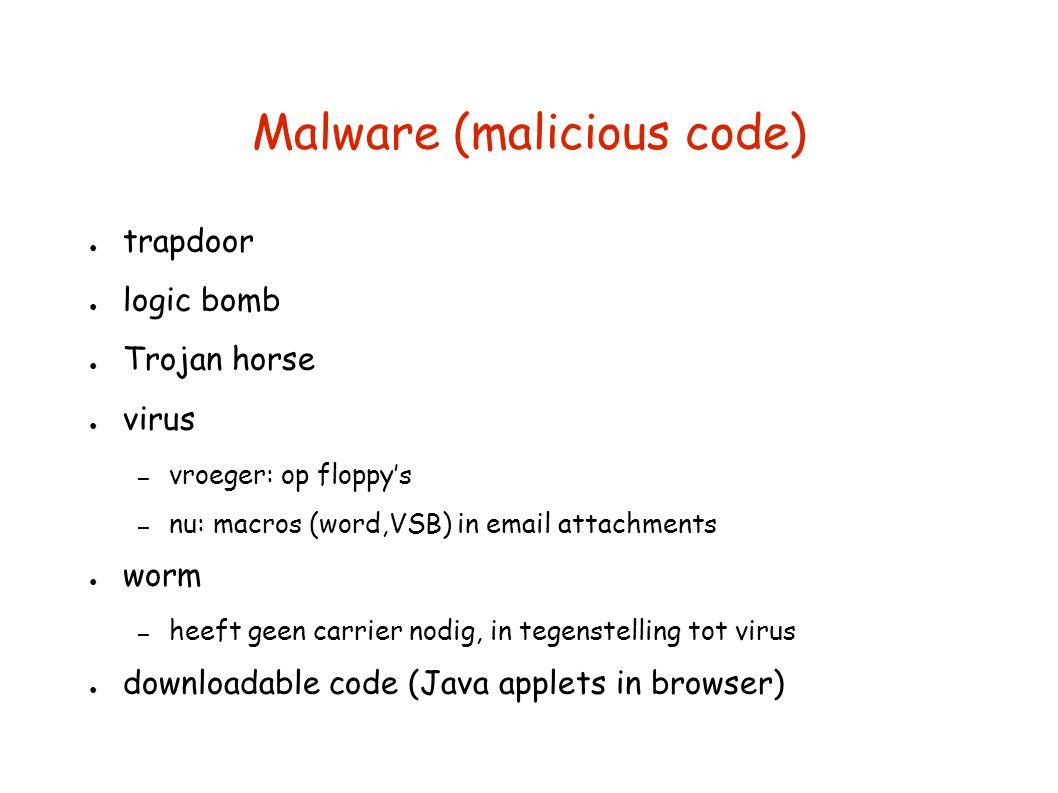 Malware (malicious code) ● trapdoor ● logic bomb ● Trojan horse ● virus – vroeger: op floppy's – nu: macros (word,VSB) in email attachments ● worm – heeft geen carrier nodig, in tegenstelling tot virus ● downloadable code (Java applets in browser)