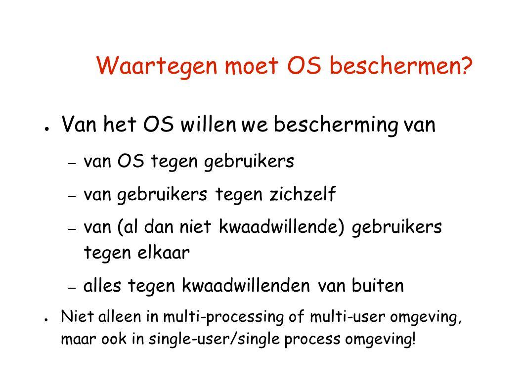 Waartegen moet OS beschermen? ● Van het OS willen we bescherming van – van OS tegen gebruikers – van gebruikers tegen zichzelf – van (al dan niet kwaa