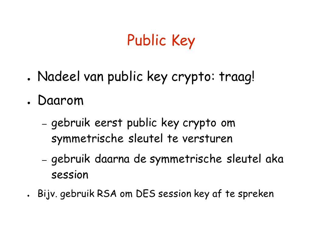 Public Key ● Nadeel van public key crypto: traag! ● Daarom – gebruik eerst public key crypto om symmetrische sleutel te versturen – gebruik daarna de