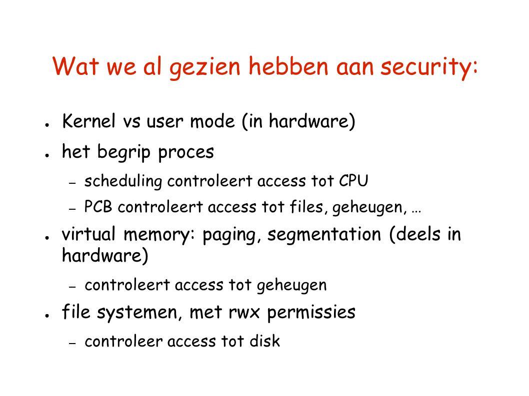 Wat we al gezien hebben aan security: ● Kernel vs user mode (in hardware) ● het begrip proces – scheduling controleert access tot CPU – PCB controleer