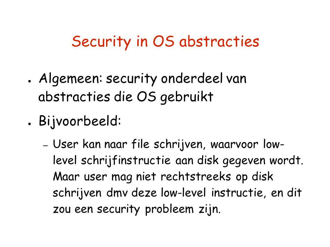 Security in OS abstracties ● Algemeen: security onderdeel van abstracties die OS gebruikt ● Bijvoorbeeld: – User kan naar file schrijven, waarvoor low