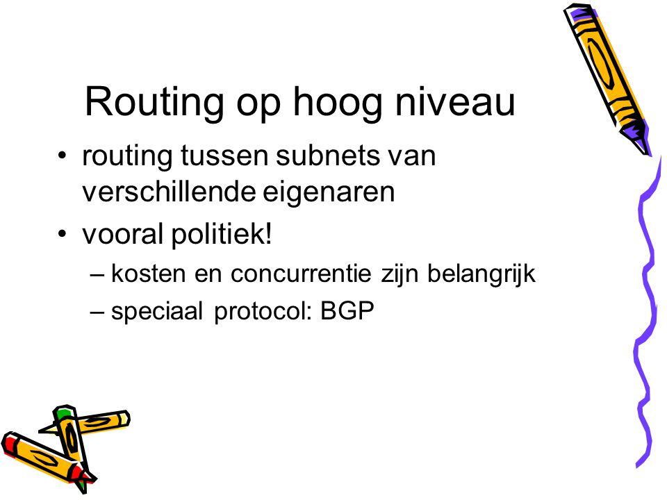 Routing op hoog niveau routing tussen subnets van verschillende eigenaren vooral politiek! –kosten en concurrentie zijn belangrijk –speciaal protocol: