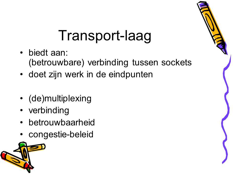 Transport-laag biedt aan: (betrouwbare) verbinding tussen sockets doet zijn werk in de eindpunten (de)multiplexing verbinding betrouwbaarheid congestie-beleid