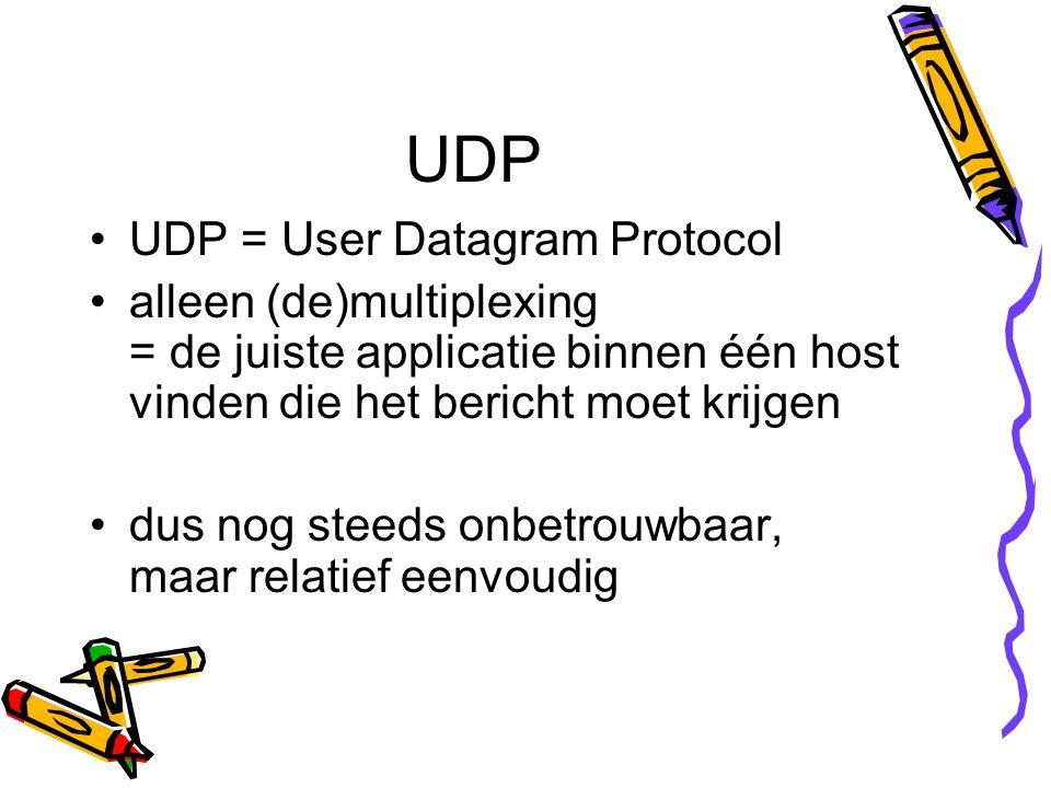 UDP UDP = User Datagram Protocol alleen (de)multiplexing = de juiste applicatie binnen één host vinden die het bericht moet krijgen dus nog steeds onbetrouwbaar, maar relatief eenvoudig