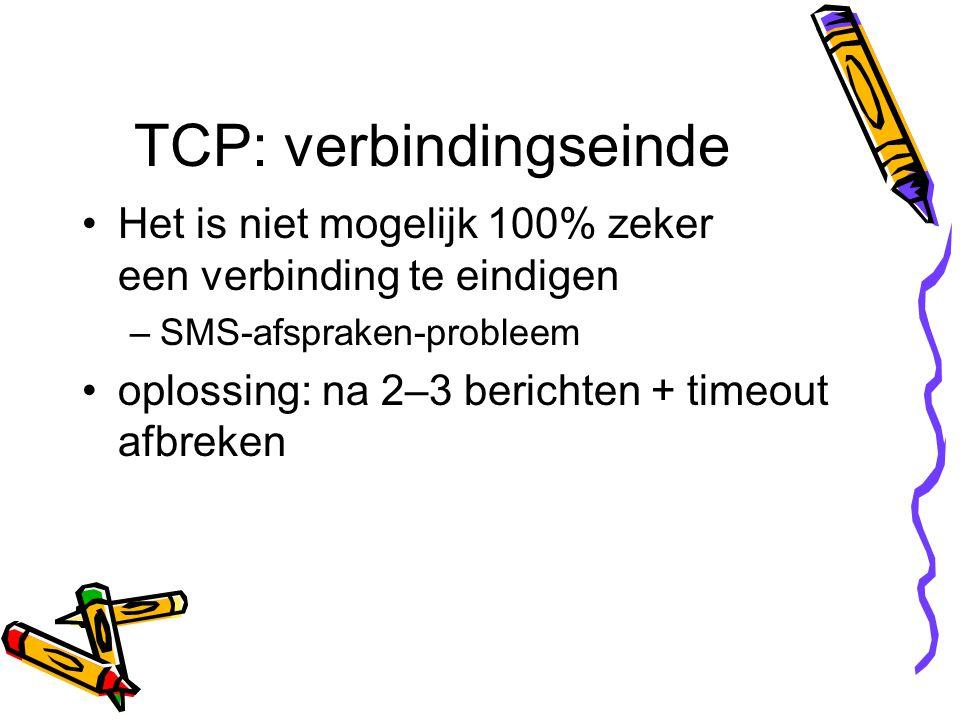 TCP: verbindingseinde Het is niet mogelijk 100% zeker een verbinding te eindigen –SMS-afspraken-probleem oplossing: na 2–3 berichten + timeout afbreke