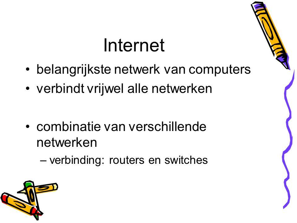 Internet belangrijkste netwerk van computers verbindt vrijwel alle netwerken combinatie van verschillende netwerken –verbinding: routers en switches