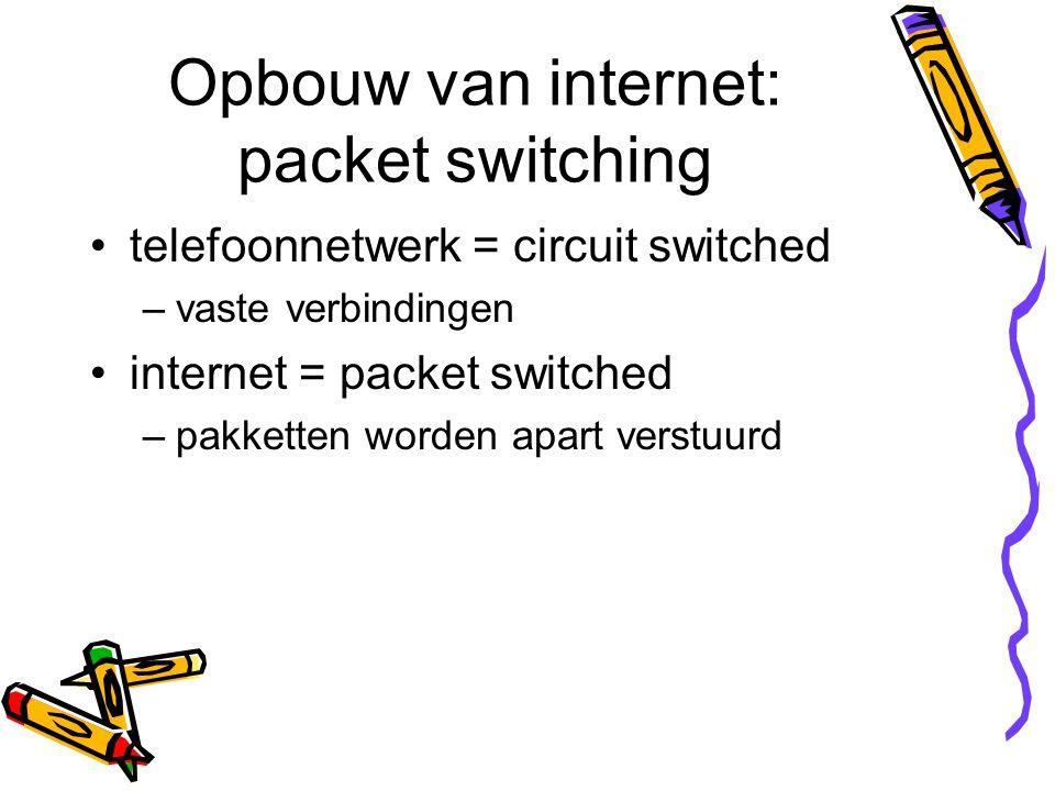 Opbouw van internet: packet switching telefoonnetwerk = circuit switched –vaste verbindingen internet = packet switched –pakketten worden apart verstu