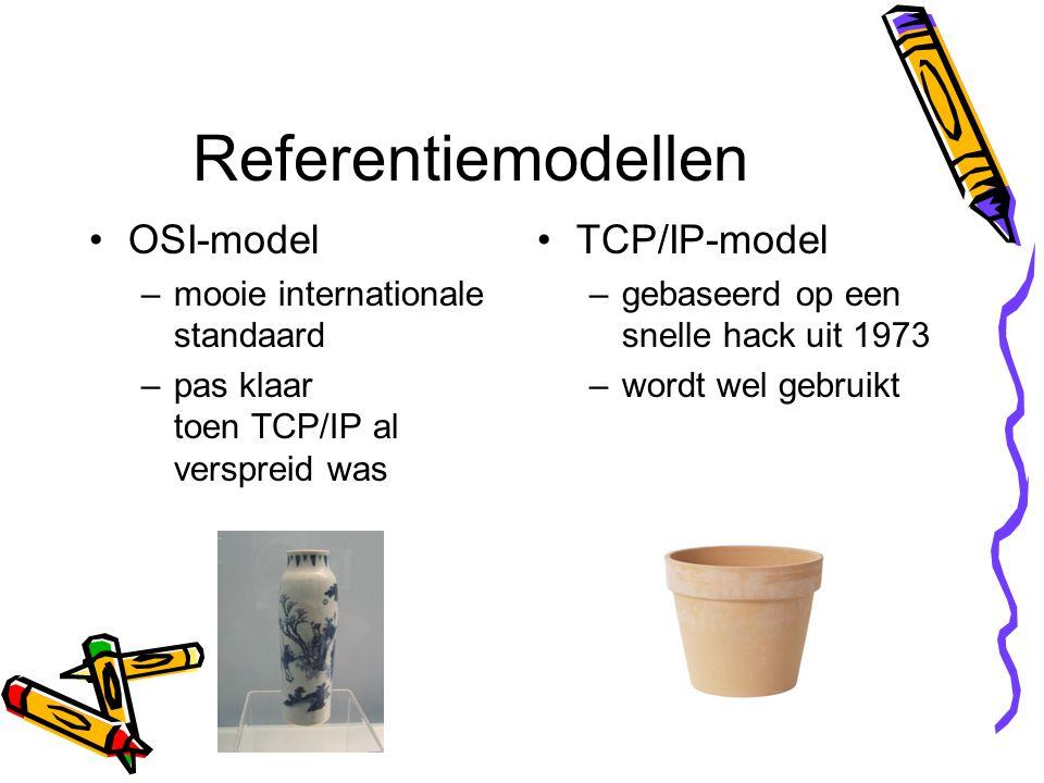 Referentiemodellen OSI-model –mooie internationale standaard –pas klaar toen TCP/IP al verspreid was TCP/IP-model –gebaseerd op een snelle hack uit 1973 –wordt wel gebruikt
