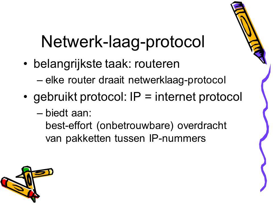 Netwerk-laag-protocol belangrijkste taak: routeren –elke router draait netwerklaag-protocol gebruikt protocol: IP = internet protocol –biedt aan: best-effort (onbetrouwbare) overdracht van pakketten tussen IP-nummers