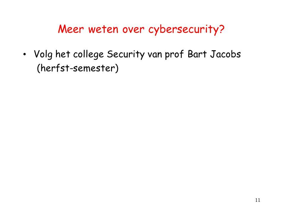 Meer weten over cybersecurity? Volg het college Security van prof Bart Jacobs (herfst-semester) 11