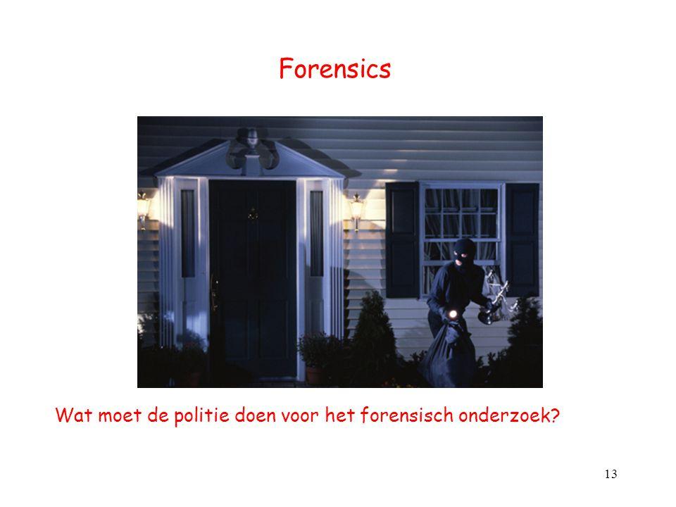 Forensics Wat moet de politie doen voor het forensisch onderzoek? 13