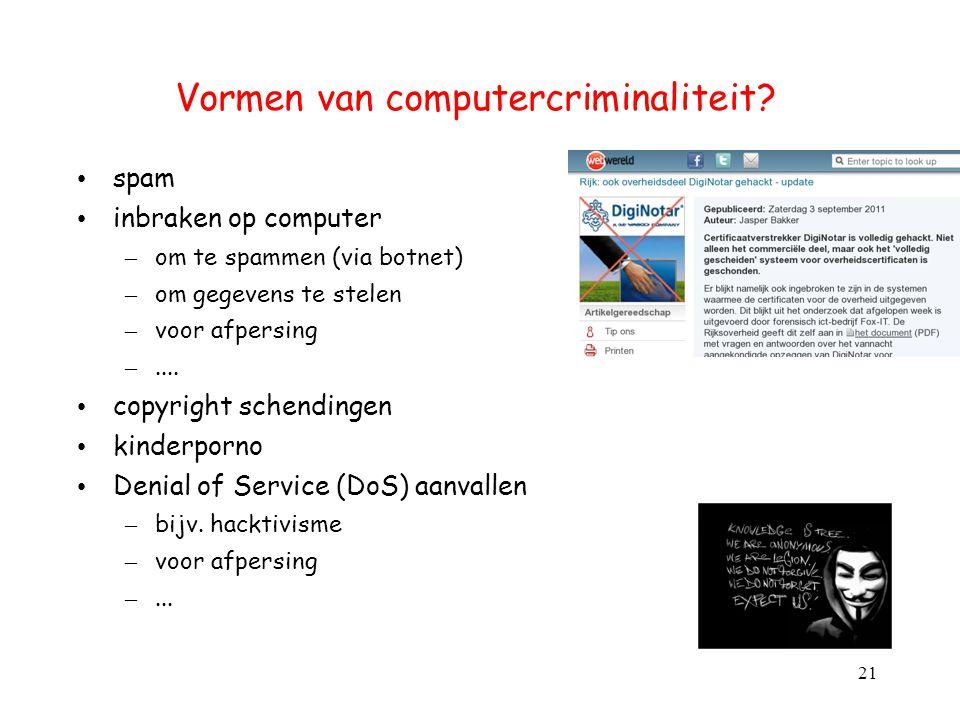 Vormen van computercriminaliteit? spam inbraken op computer – om te spammen (via botnet) – om gegevens te stelen – voor afpersing –.... copyright sche