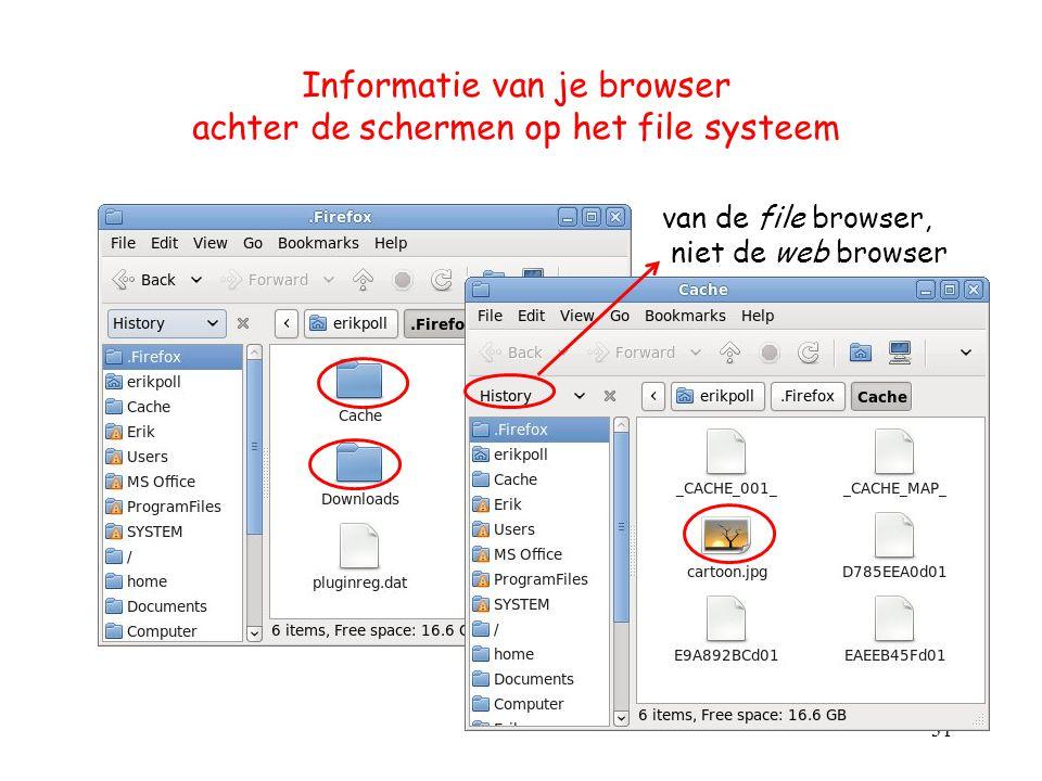 Informatie van je browser achter de schermen op het file systeem 31 van de file browser, niet de web browser