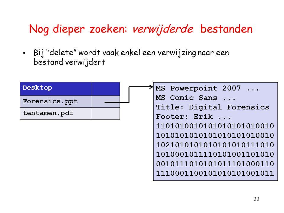 """Nog dieper zoeken: verwijderde bestanden Bij """"delete"""" wordt vaak enkel een verwijzing naar een bestand verwijdert 33 Desktop Forensics.ppt tentamen.pd"""