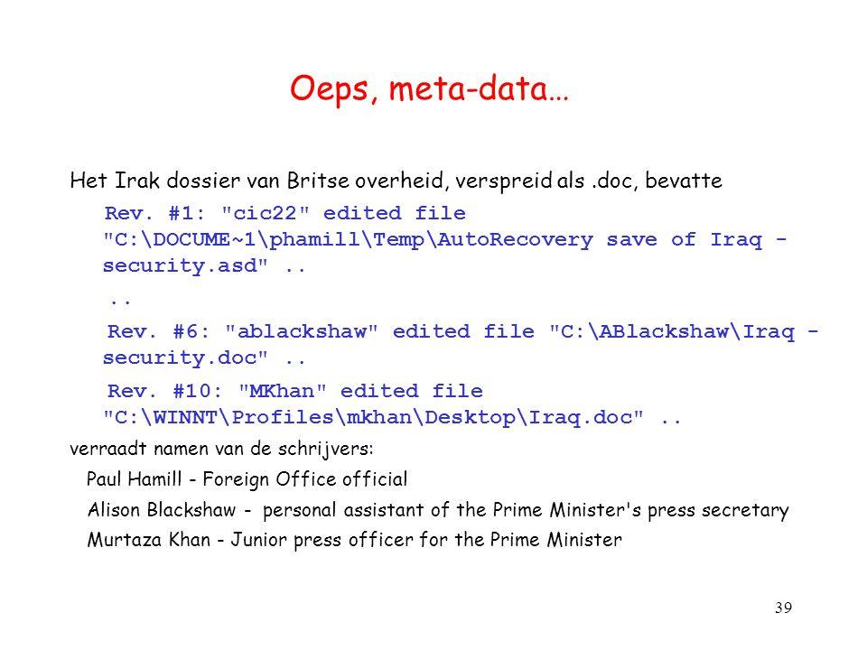 Oeps, meta-data… Het Irak dossier van Britse overheid, verspreid als.doc, bevatte Rev. #1: