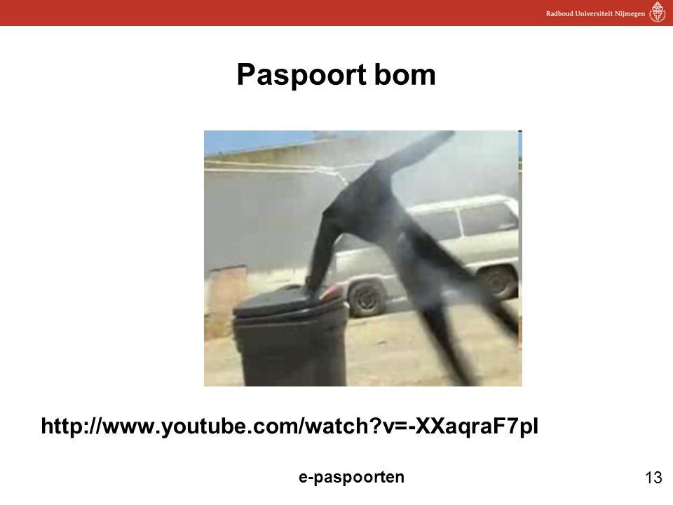 13 e-paspoorten Paspoort bom http://www.youtube.com/watch?v=-XXaqraF7pI