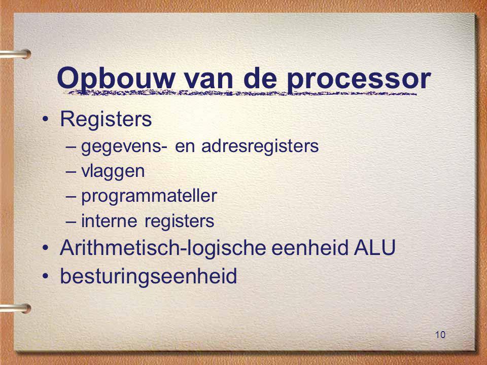 10 Opbouw van de processor Registers –gegevens- en adresregisters –vlaggen –programmateller –interne registers Arithmetisch-logische eenheid ALU besturingseenheid