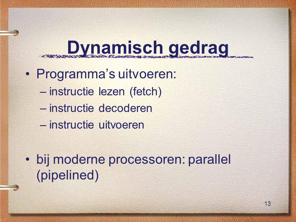 13 Dynamisch gedrag Programma's uitvoeren: –instructie lezen (fetch) –instructie decoderen –instructie uitvoeren bij moderne processoren: parallel (pipelined)