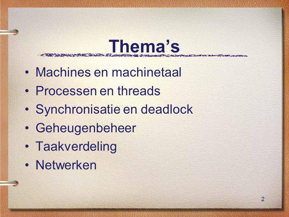 2 Thema's Machines en machinetaal Processen en threads Synchronisatie en deadlock Geheugenbeheer Taakverdeling Netwerken