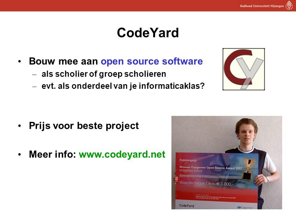 18 CodeYard Bouw mee aan open source software – als scholier of groep scholieren – evt.