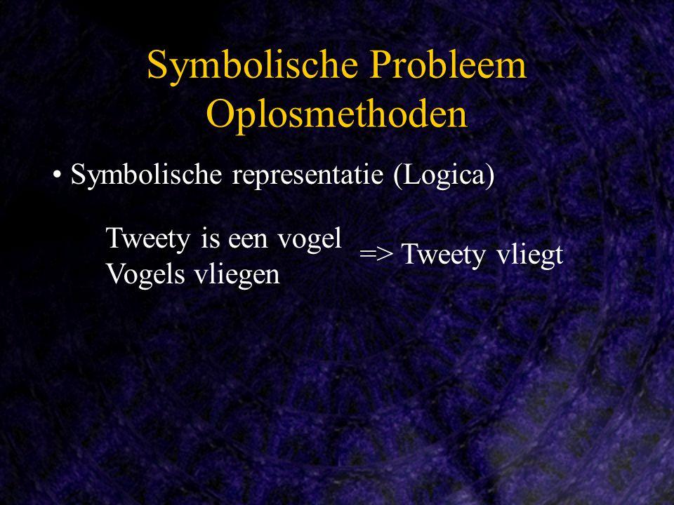Symbolische representatie (Logica) Symbolische representatie (Logica) Symbolische Probleem Oplosmethoden Tweety is een vogel Vogels vliegen => Tweety