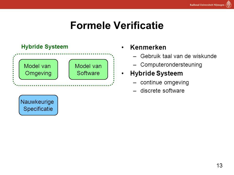 13 Formele Verificatie Kenmerken –Gebruik taal van de wiskunde –Computerondersteuning Hybride Systeem –continue omgeving –discrete software Model van Omgeving Model van Software Nauwkeurige Specificatie Hybride Systeem
