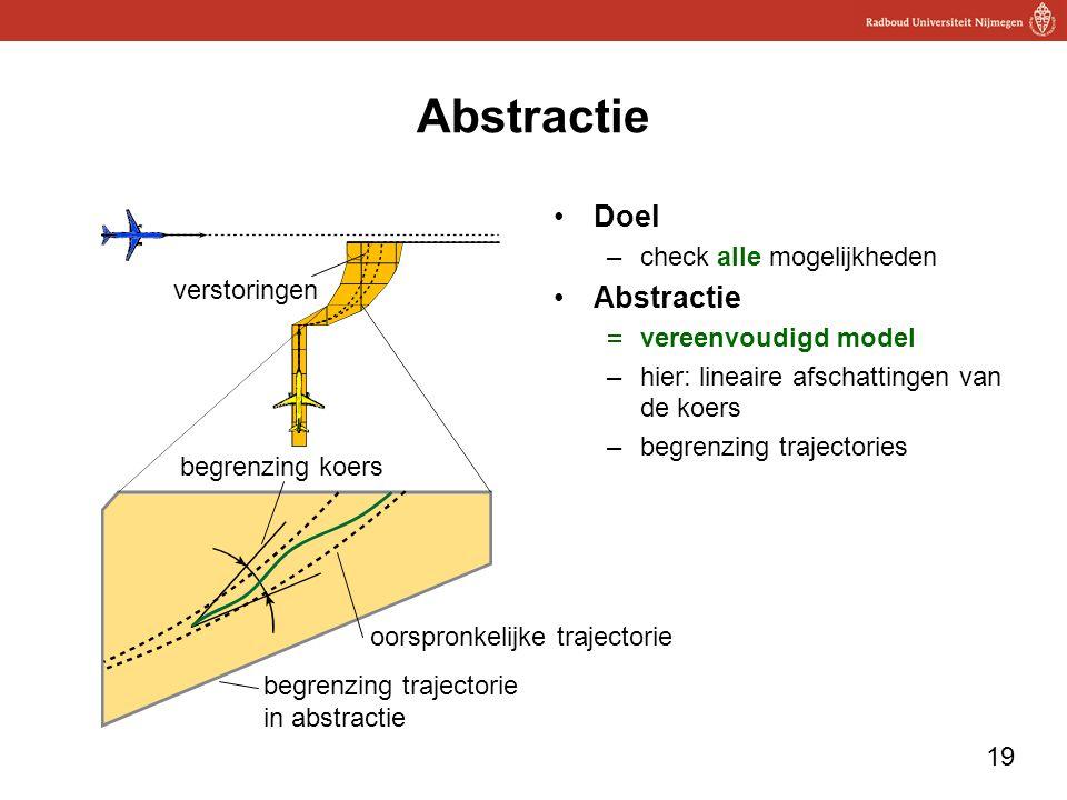 19 Abstractie Doel –check alle mogelijkheden Abstractie  vereenvoudigd model –hier: lineaire afschattingen van de koers –begrenzing trajectories begrenzing koers oorspronkelijke trajectorie begrenzing trajectorie in abstractie verstoringen