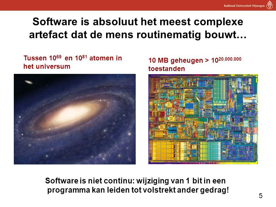 5 Software is absoluut het meest complexe artefact dat de mens routinematig bouwt… Tussen 10 69 en 10 81 atomen in het universum 10 MB geheugen > 10 20.000.000 toestanden Software is niet continu: wijziging van 1 bit in een programma kan leiden tot volstrekt ander gedrag!