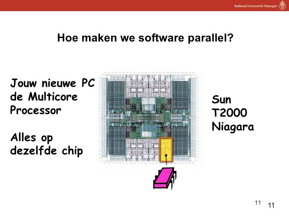 11 Hoe maken we software parallel? cache Bus shared memory cache Jouw nieuwe PC: de Multicore Processor Alles op dezelfde chip Sun T2000 Niagara