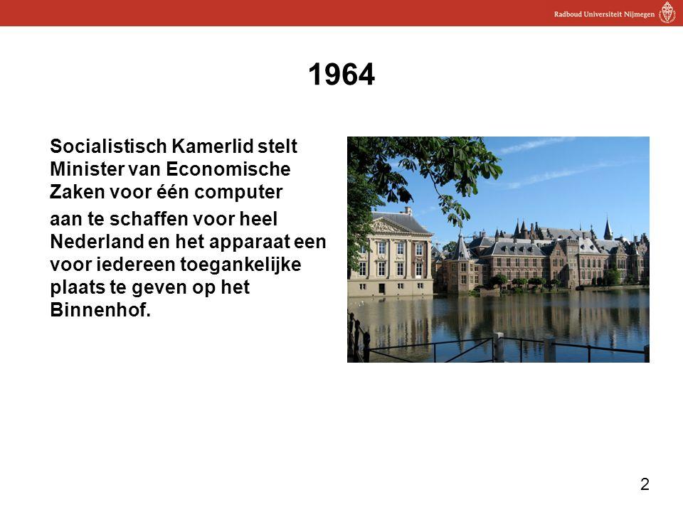 2 1964 Socialistisch Kamerlid stelt Minister van Economische Zaken voor één computer aan te schaffen voor heel Nederland en het apparaat een voor iede