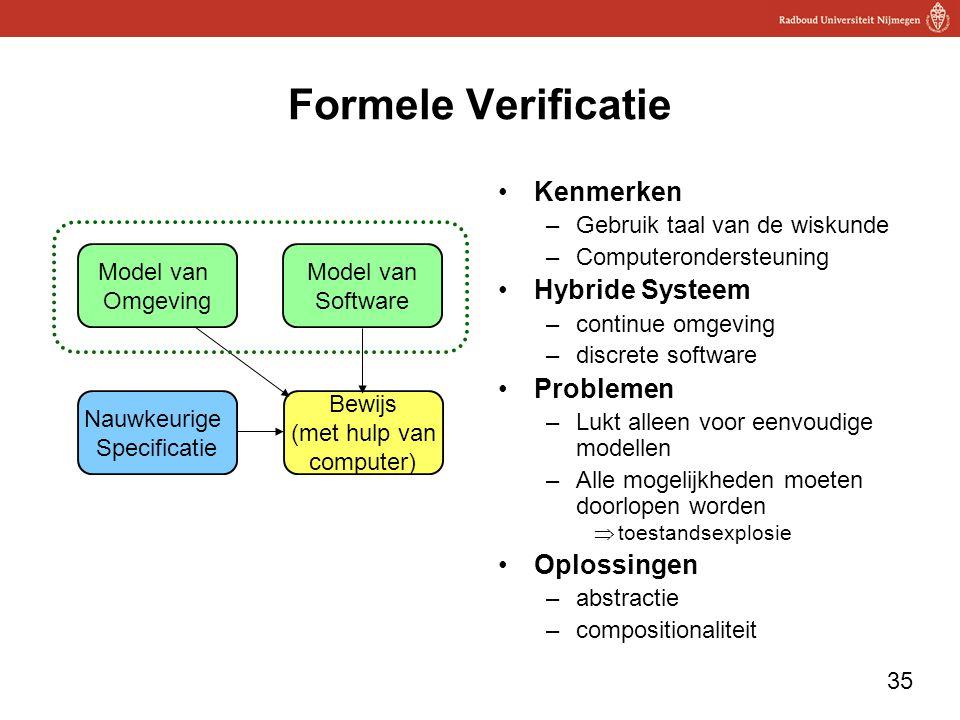 35 Formele Verificatie Kenmerken –Gebruik taal van de wiskunde –Computerondersteuning Hybride Systeem –continue omgeving –discrete software Problemen