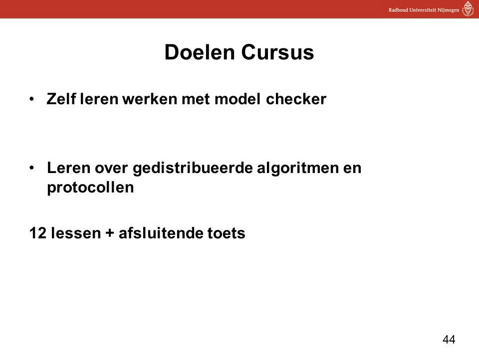 44 Doelen Cursus Zelf leren werken met model checker Leren over gedistribueerde algoritmen en protocollen 12 lessen + afsluitende toets