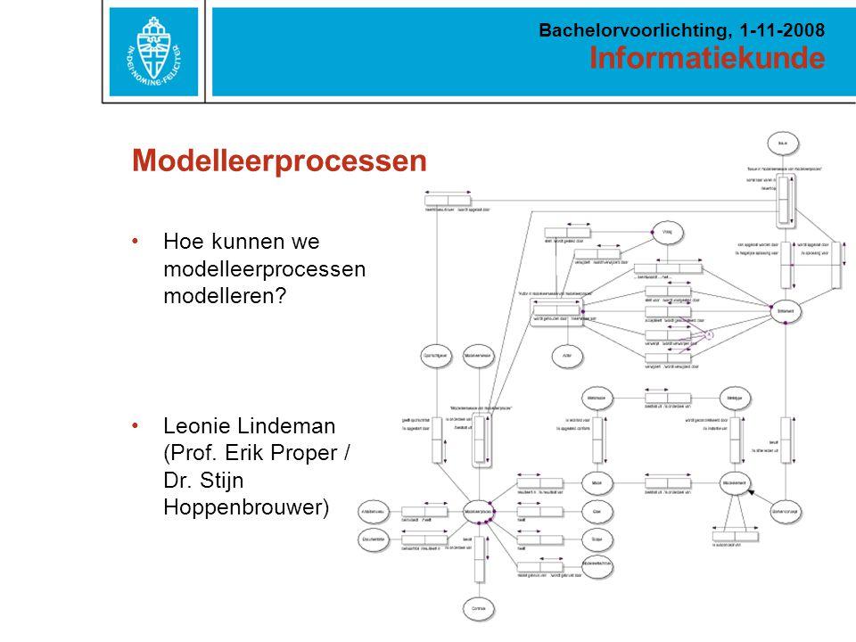 Informatiekunde Bachelorvoorlichting, 1-11-2008 Modelleerprocessen Hoe kunnen we modelleerprocessen modelleren.