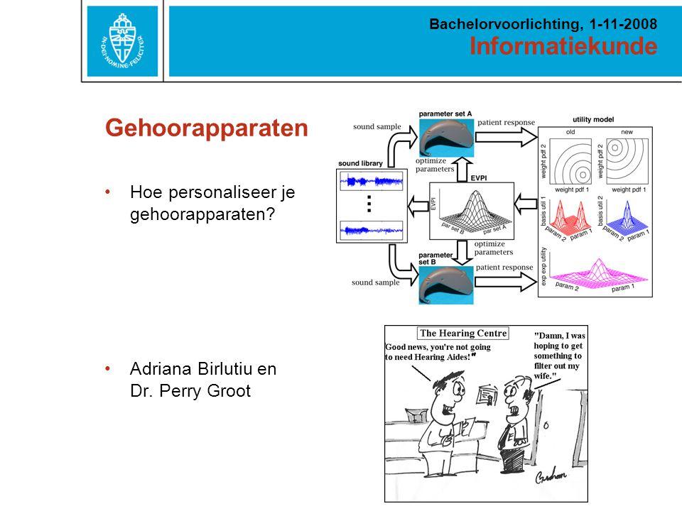 Informatiekunde Bachelorvoorlichting, 1-11-2008 Gehoorapparaten Hoe personaliseer je gehoorapparaten.