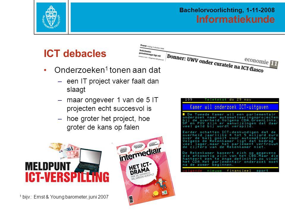 Informatiekunde Bachelorvoorlichting, 1-11-2008 ICT debacles Onderzoeken 1 tonen aan dat –een IT project vaker faalt dan slaagt –maar ongeveer 1 van de 5 IT projecten echt succesvol is –hoe groter het project, hoe groter de kans op falen 1 bijv.: Ernst & Young barometer, juni 2007