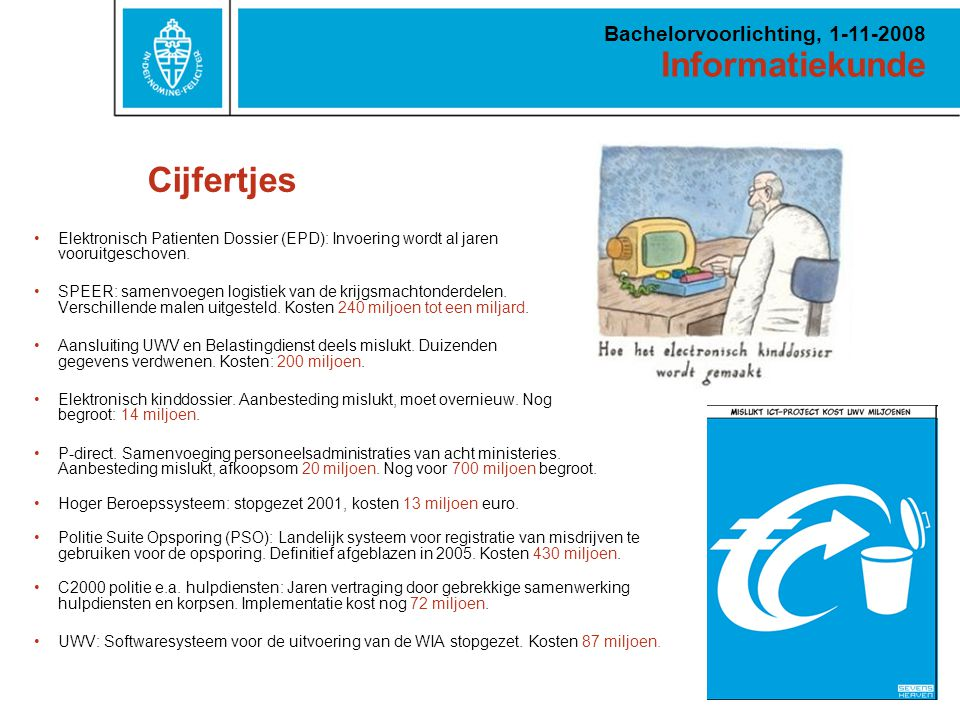 Informatiekunde Bachelorvoorlichting, 1-11-2008 Waarom informatiekunde? Uitdagend Relevant Breed