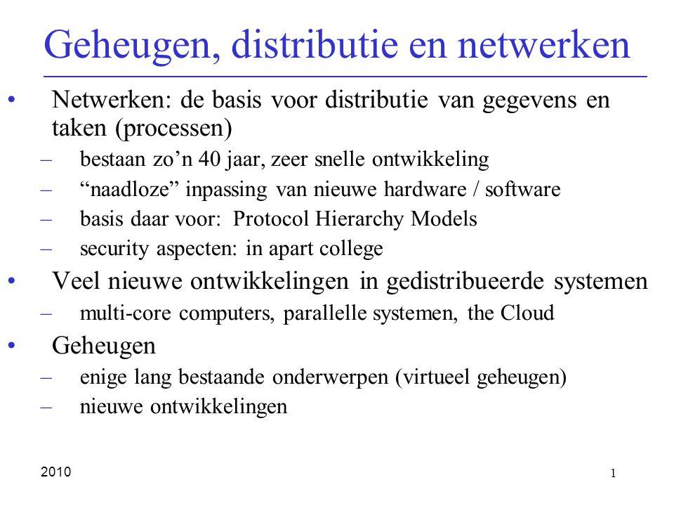 1 2010 Geheugen, distributie en netwerken Netwerken: de basis voor distributie van gegevens en taken (processen) –bestaan zo'n 40 jaar, zeer snelle on