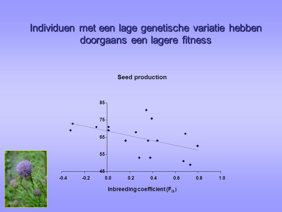 Individuen met een lage genetische variatie hebben doorgaans een lagere fitness Seed production 45 55 65 75 85 -0.4-0.20.00.20.40.60.81.0 Inbreeding coefficient (F IS )