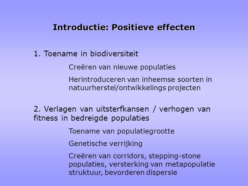 Introductie: Positieve effecten 1. Toename in biodiversiteit Toename van populatiegrootte Genetische verrijking Creëren van corridors, stepping-stone
