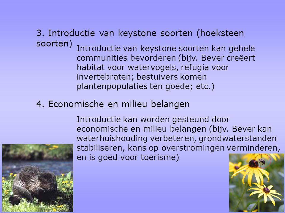 3. Introductie van keystone soorten (hoeksteen soorten) Introductie van keystone soorten kan gehele communities bevorderen (bijv. Bever creëert habita