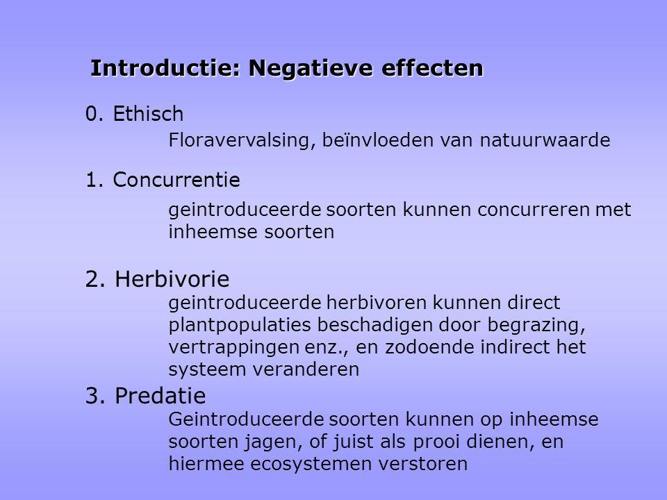 Introductie: Negatieve effecten 1. Concurrentie geintroduceerde soorten kunnen concurreren met inheemse soorten 2. Herbivorie geintroduceerde herbivor