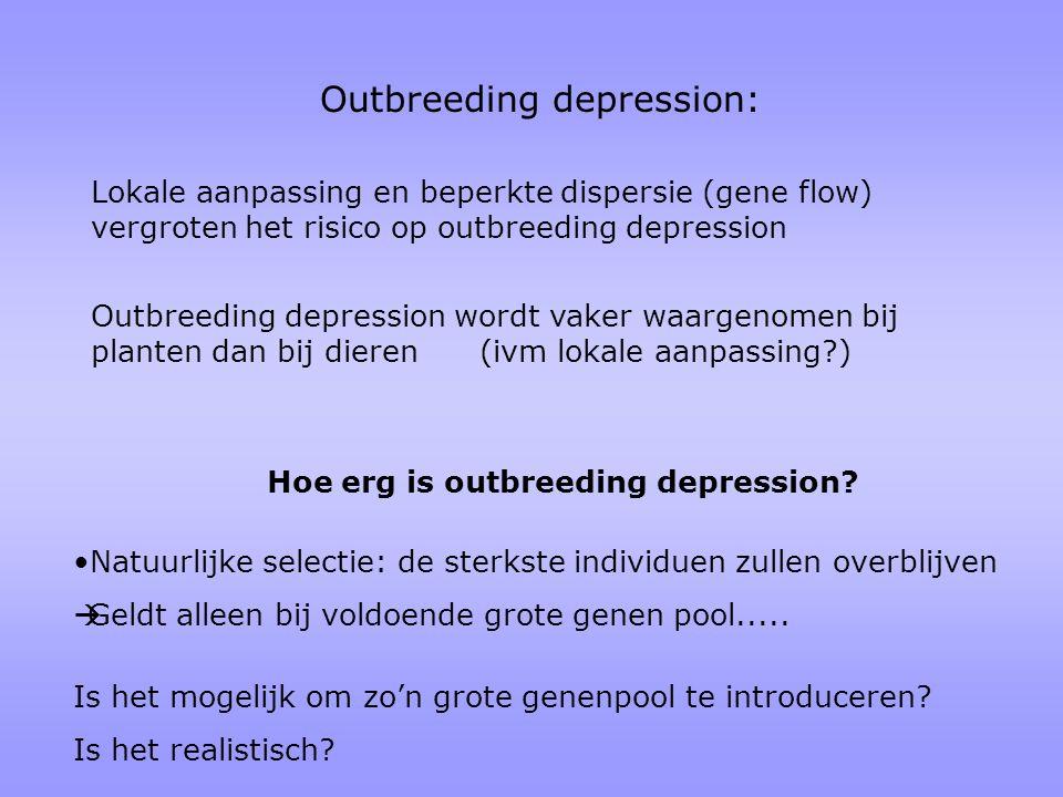 Outbreeding depression wordt vaker waargenomen bij planten dan bij dieren (ivm lokale aanpassing?) Outbreeding depression: Lokale aanpassing en beperk