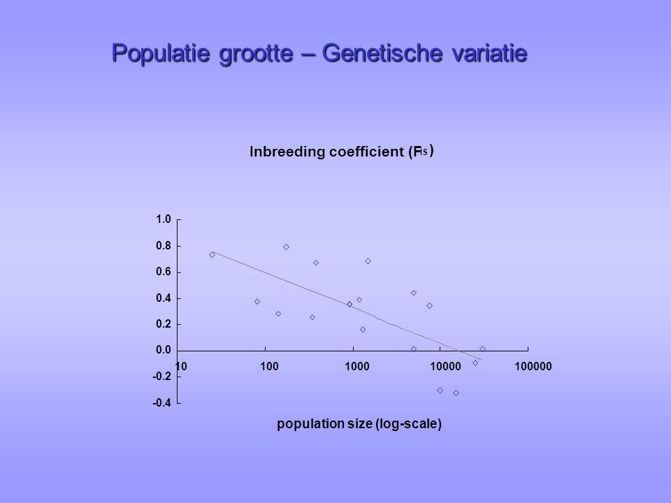 Populatie grootte – Genetische variatie Inbreeding coefficient (F IS ) -0.4 -0.2 0.0 0.2 0.4 0.6 0.8 1.0 10100100010000100000 population size (log-scale)