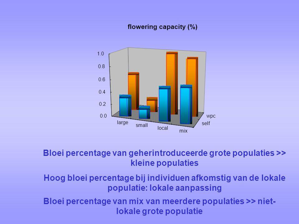 large small local mix self wpc0.0 0.2 0.4 0.6 0.8 1.0 flowering capacity (%) Hoog bloei percentage bij individuen afkomstig van de lokale populatie: lokale aanpassing Bloei percentage van geherintroduceerde grote populaties >> kleine populaties Bloei percentage van mix van meerdere populaties >> niet- lokale grote populatie