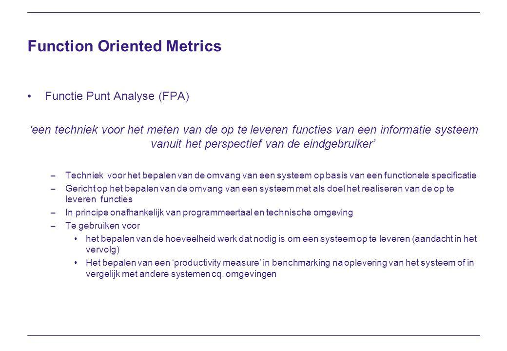 Function Oriented Metrics Functie Punt Analyse (FPA) 'een techniek voor het meten van de op te leveren functies van een informatie systeem vanuit het
