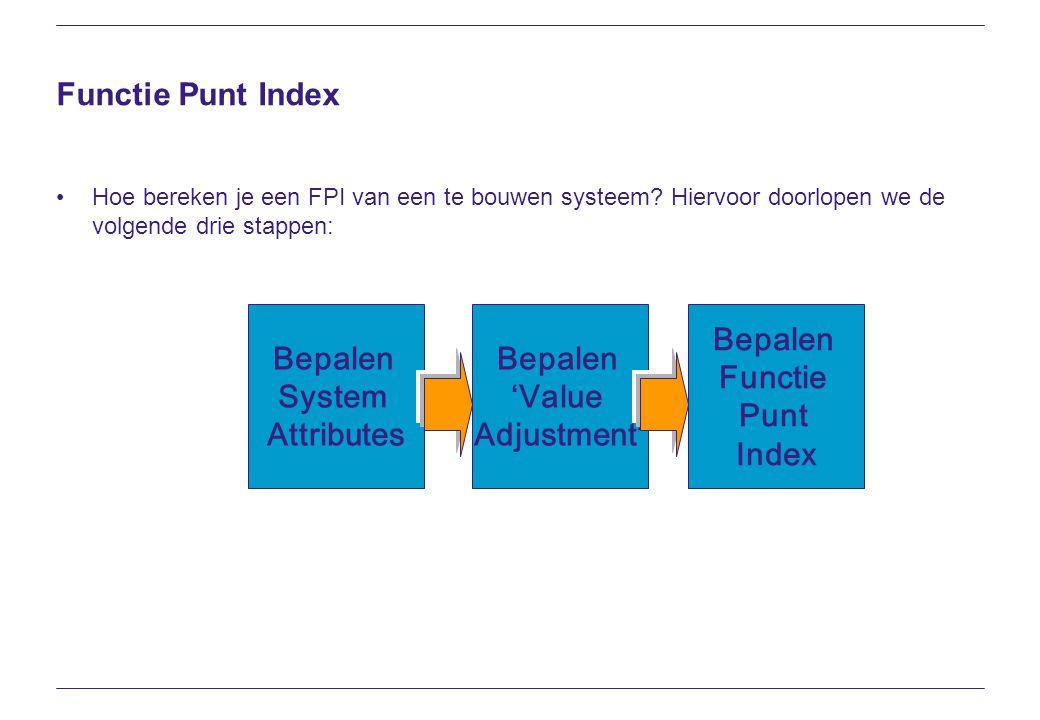 Functie Punt Index Hoe bereken je een FPI van een te bouwen systeem? Hiervoor doorlopen we de volgende drie stappen: Bepalen Functie Punt Index Bepale