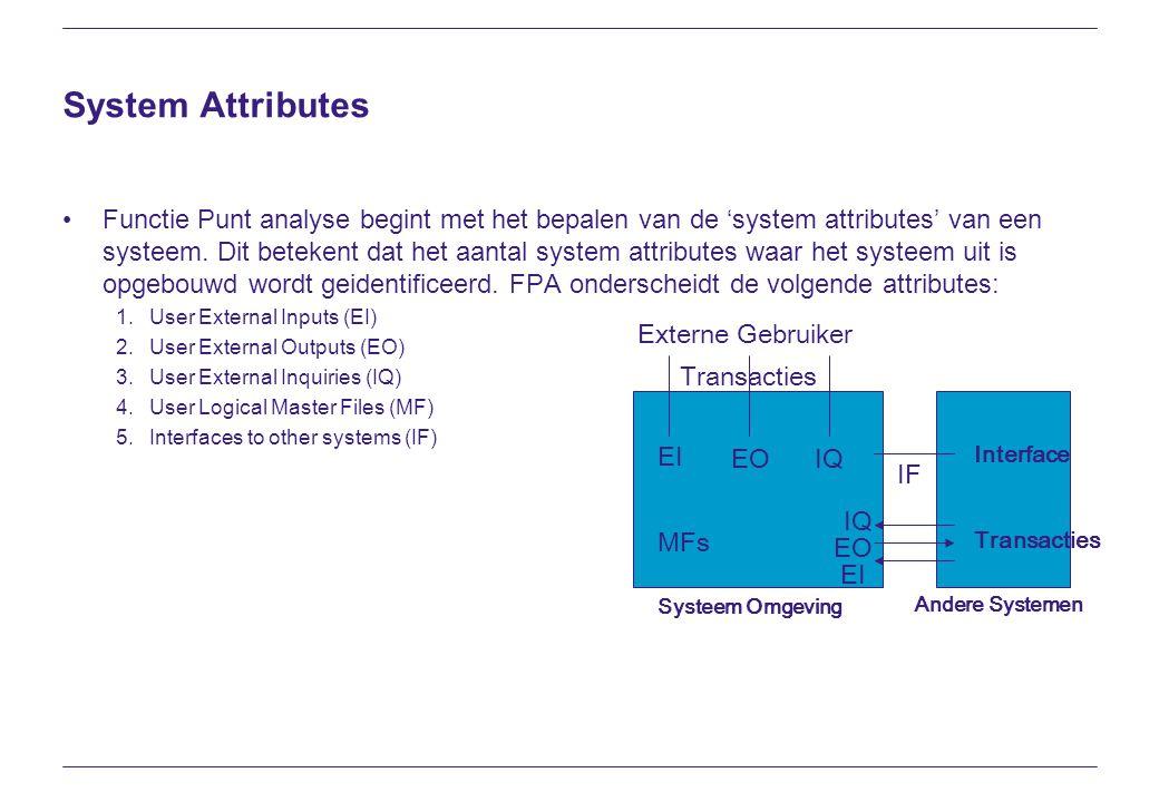 System Attributes Functie Punt analyse begint met het bepalen van de 'system attributes' van een systeem. Dit betekent dat het aantal system attribute