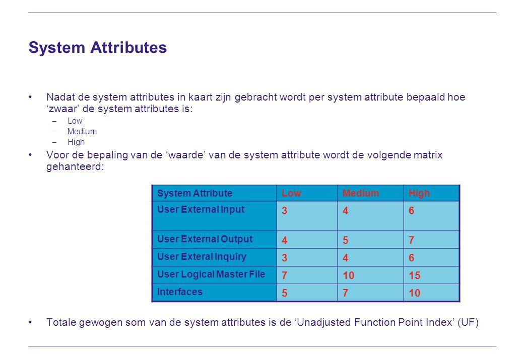System Attributes Nadat de system attributes in kaart zijn gebracht wordt per system attribute bepaald hoe 'zwaar' de system attributes is: – Low – Me
